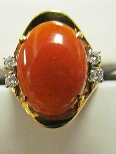 JP: Vintage Red Jade Diamond Ring