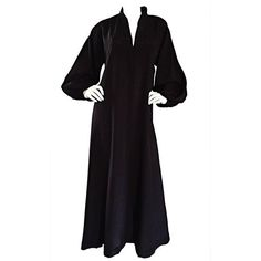 Preowned Rare Vintage Halston Black Caftan Silk Dress W/ Empire Waist... ($955) ❤ liked on Polyvore featuring dresses, black, kaftans, caftan dresses, vintage kaftan, vintage day dress, empire waist formal dresses and silk dress