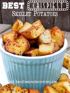 Did this with olive oil and bacon grease then tossed the uncooked cubes in a bag with old bay and seasoned salt before tossing them into the frying pan. -Dani