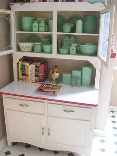 Vintage Cabinet with a Jadite collection