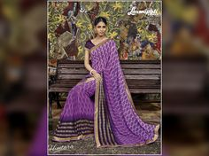 Excite everyone with your wonderful conventional look by draping this vibrant purple & violet coloured #GeorgetteSaree along with violet coloured raw silk blouse. Shop now@ http://bit.ly/29uGyWO #couture #LaxmipatiSaree #HIMTARA0616