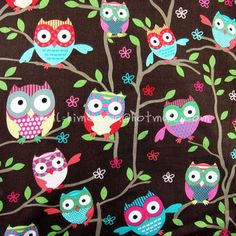 mty029 - 1 Yard Cotton Fabric - Owl On The Tree - Brown (W108). $9.00, via Etsy.