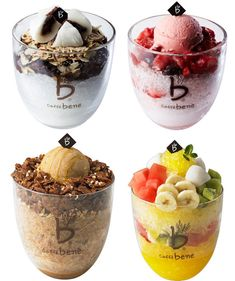 Different variations on patbingsu Desserts Menu, Asian Desserts, Frozen Desserts, Dessert Recipes, Thai Dessert, Korean Dessert, Milk Shakes, Patbingsu, Yummy Drinks