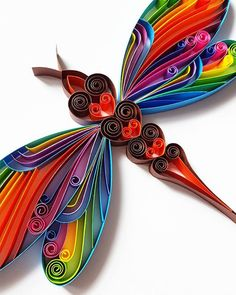 """Quilled Paper Art: """"Colourful Dragonfly"""" – Dragonfly Wall Art – Handmade Artwork – Paper Wall Art – Home Decor – … Quilling Butterfly, Arte Quilling, Paper Quilling Flowers, Paper Quilling Cards, Quilling Work, Paper Quilling Jewelry, Paper Quilling Patterns, Quilled Paper Art, Quilling Paper Craft"""