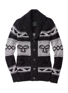 This cozy lambswool cardigan features custom-designed intarsia artwork inspired by traditional knit patterns from the Northwest Coast. It has a folded shawl collar and is designed with an extra-long shape for easy layering. Head To Toe, Knit Patterns, North West, Beautiful Outfits, Stylish, My Style, Sweaters, Clothes, Thoughts