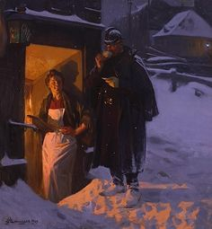 by Erik Ludvig Henningsen (Danish 1855 – Lund, Safari, Gustave Courbet, Scandinavian Art, Ludwig, Old Fashioned Christmas, Coffee Art, Light Painting, Traditional Art