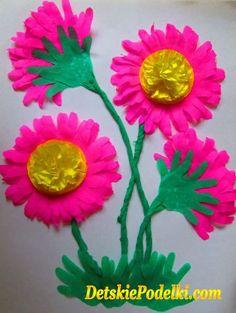 Цветы из ладошек.