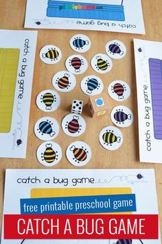 This free printable 'Catch a Bug' game is easy to put together and fun to play. There are three ways to play, that all focus on practicing different skills. Free Preschool, Preschool Games, Kids Learning Activities, Preschool Crafts, Insect Activities, Building Games For Kids, Free Games For Kids, Insect Crafts, Bug Crafts