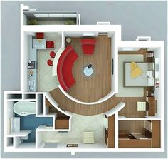 Apartments : Interesting Apartment with Curved Walls for floor plans for small houses design ideas picture - a part of Fascinating 1 Bedroom Apartment/House Plans Apartment Layout, One Bedroom Apartment, Apartment Design, Apartment Ideas, Apartment Interior, Apartment Living, Couples Apartment, Two Bedroom Apartments, Layouts Casa