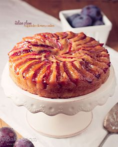 A fantastic Upside-down Plum Cake recipe where juicy fresh plums are transformed into a layer of intensely colored and flavored, luscious deliciousness. Cupcakes, Cupcake Cakes, Baking Recipes, Cake Recipes, Dessert Recipes, Drink Recipes, Plum Recipes, Sweet Recipes, Plum Upside Down Cake