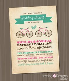 Bicycle Wedding Shower Invitation Bridal by InvitingDesignStudio, $18.00