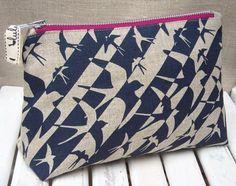 Blue bird print make up bag by luluandluca on Etsy, $29.00
