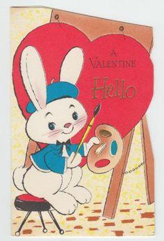 Vintage American Greeting Artist Rabbit Valentine Greeting Card