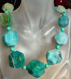 "Blue Turquoise Color Faceted Agate Necklace c/w Turquoise Spacers - Silver Coated   Finish- 19""lg (48cm) on Etsy, $40.00"
