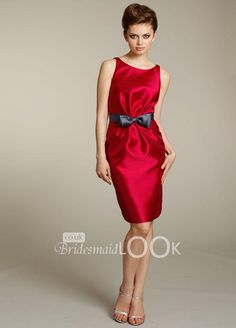 satin cherry bridesmaid dress boat neck knee length with bow accent