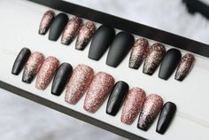 Black Rose Gold Glitter Press on Nails | Matte Fake Nails | Ombre | Pink Gold | Glitter | Handpainted Nail Art | Glue On Nails | Any Shape by DippyCowNails on Etsy