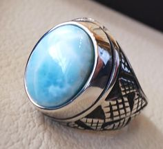Dominican larimar blue natural stone ring sterling silver 925