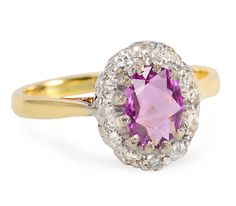 Pink Sapphire Diamond Cluster Ring - The Three Graces