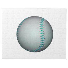 Light Blue Stitches Baseball / Softball Jigsaw Puzzle