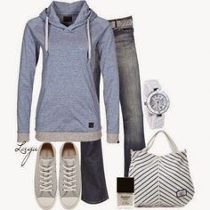 Blue Sviter, Dark Blue Jeans, Light Grey Sport Shoes, White Watch, Light Grey-Black Striped Hand Bag And White Nail Polish.   Street Fashion