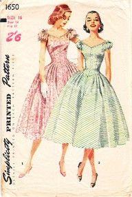 1950s Lovely Full Skirt Party Dress Pattern Simplicity 1518 V ...