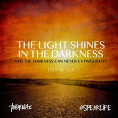 The Light shines in the darkness, and the darkness can NEVER extinguish it. (‭John‬ ‭1‬:‭5‬ NLT) #SpeakLife