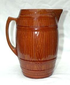 Brush Pottery Tall Keg Water Pitcher Country Farm House Jug Brown 1937  398K
