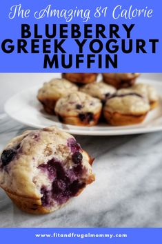 Blueberry Greek Yogurt Muffin, a naturally sweetened, low calorie muffin with a little extra protein. A p Blueberry Greek Yogurt Muffin, a naturally sweetened, low calorie muffin with a little extra protein. A perfect quick and easy healthy snack recipe. Low Calorie Muffins, Low Calorie Desserts, No Calorie Foods, Low Calorie Recipes, Healthy Low Calorie Breakfast, Low Calorie Baking, Blueberry Recipes Low Calorie, Low Calorie Snacks Sweet, Low Calorie Easy Meals