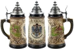 Old Heritage Coat of Arms and Landmarks Full Relief Colored Authentic German Beer Stein