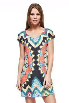 Knit Print Short Sleeve Dress - Multi