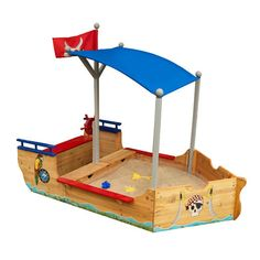 Turn your kids' play time in to one adventure with this fun KidKraft Pirate Rectangular Sandbox. Constructed to perfection, this sandbox is made using high-quality wood that makes it robust and durable Sandbox With Canopy, Sandbox Sand, Furniture Ads, Recycled Furniture, Cheap Furniture, Furniture Shopping, Steel Furniture, Wooden Furniture, Bedroom Furniture
