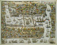 Konstantinos Kaldis, View of Constantinople 1851