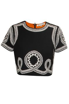 KUKOON Black and white beads embroidered crop top available only at Pernia's Pop-Up Shop.