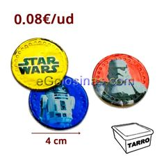 MONEDAS CHOCOLATE STAR WARS 175uds es un tarro con monedas de chocolate envueltas con imágenes de los personajes de Star Wars. Miden aprox 4cm de diámetro.