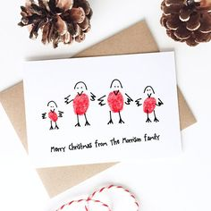 Fingerprint Christmas Card Kit  Robin Family Holiday Card