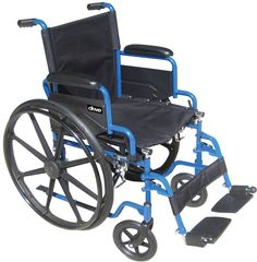 Product Summary Blue Powder-coated frame, black cross brace. Flip-back, padded desk-length arm. Nylon upholstery is durable, lightweight, attractive and easy to clean. Solid rubber tires mounted on co