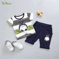 2017 Summer Cartoon Baby Boys Girls Clothes Sets Casual Style Infant Cotton Suits Sports Pants +T Shirt 2 Piece Kids' things https://presentbaby.com