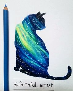 Galaxy Cat By @faithful_artist  _ @artshelp by arts_help