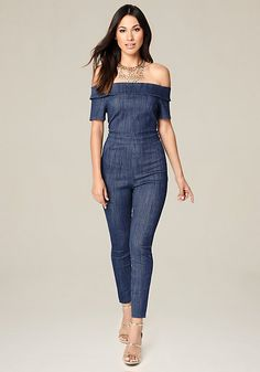 4aa1b95d2073 Sexy off-shoulder jumpsuit in a denim-look knit. Back hook-and