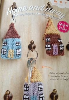 Knitted keyring houses - cute!