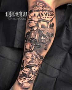 Pair Tattoos, Dope Tattoos, Badass Tattoos, Unique Tattoos, Leg Tattoos, Tattoos For Guys, Casino Tattoo, Vegas Tattoo, Forearm Sleeve Tattoos