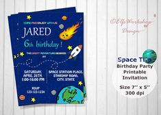 Space invitation, Rocket ship invite, Outer space invitation, Space trip birthday, Astronaut birthday, Printable space invites, Personalized by ElfsWorkshopDesign on Etsy 90th Birthday Parties, Birthday Party Invitations, Invites, Astronaut, Outer Space, Rsvp, Printables, Handmade Gifts, Etsy