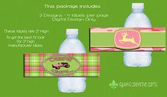 Bottle Labels-DIY-Custom-Personalized-Pink John Deere Girl-Deere Girl-Tractor Girl-Water Bottle Labels-Party Favors-Party Decorations