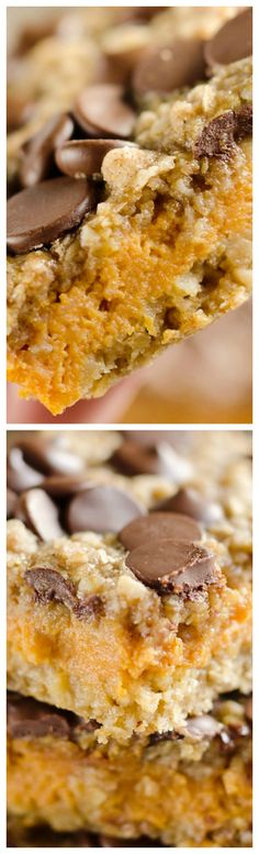 Pumpkin Dark Chocolate Oatmeal Bars ~ A chewy and delicious dessert loaded with dark chocolate chips and oatmeal.