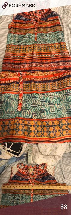 Tribal Aztec geometric chiffon lace blouse tank Super cute for summer! Lots of colors, sheer fabric. No flaws except a few loose threads in lace. Fig and Flower Tops Blouses