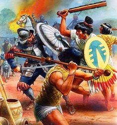 Melee combat between Spanish Conquistadores and Aztec warriors Military Art, Military History, Ancient History, Art History, Aztec Empire, Aztec Culture, Aztec Warrior, Inka, Aztec Art