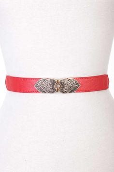 #FashionVault #kandy kouture #Women #Accessories - Check this : Red Faux Leather Heart Intricate Design Elastic-band Waist Belt for $24.99 USD