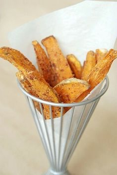 Baked Sweet Potato Fries Ingredients: 3 large sweet potatoes 2 tablespoons corn meal 3 tablespoons olive oil, divided 1 tablespoon ground cinnamon salt and fresh cracked pepper, to taste Directions: Preheat oven to 425 degrees. Line a large cookie sheet with non-stick aluminum foil.