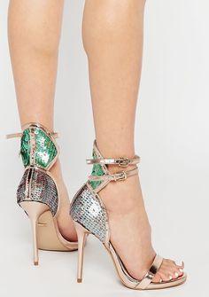 Sequin Shoes, Sparkly Shoes, Metallic Sandals, Open Toe Shoes, Open Toe Sandals, Heeled Sandals, Carvela Shoes, Bronze Shoes, Mermaid Shoes