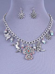 Cowgirl Bling Ranch, LLC - Rhinestone Beaded Cross Charm Necklace & Earring Set $15.99 www.cowgirlblingranch.com